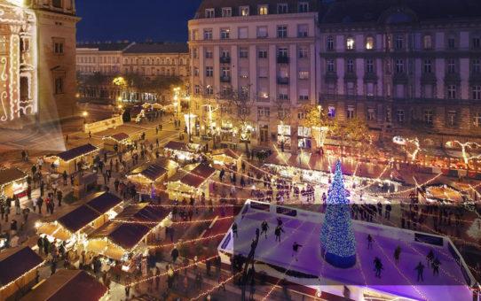 Рождественская ярмарка у Базилики в Будапеште