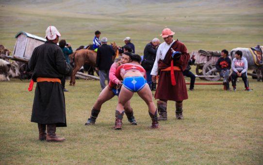 Борцовские поединки в Монголии