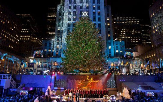 Рокфеллер-центр Рождественская елка в Нью-Йорке