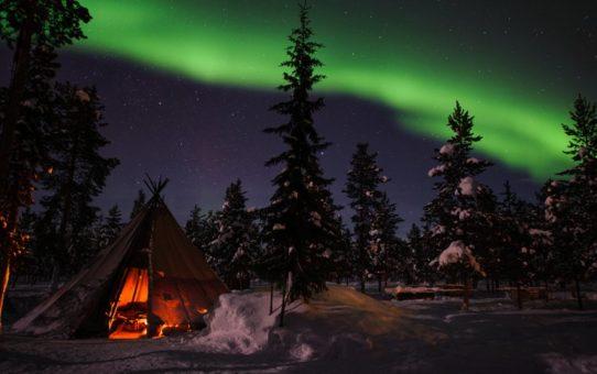 Северное сияние в Лапландии, Швеция